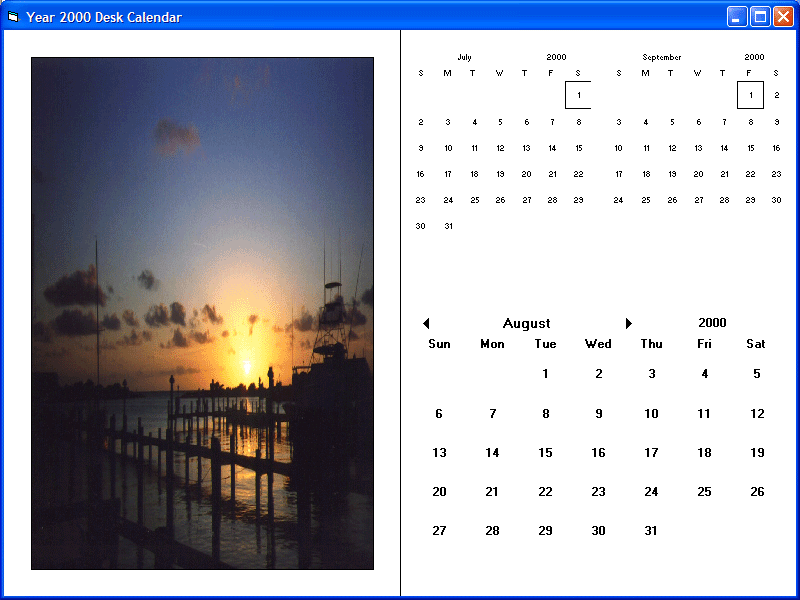Screenshot of Calendar Objx