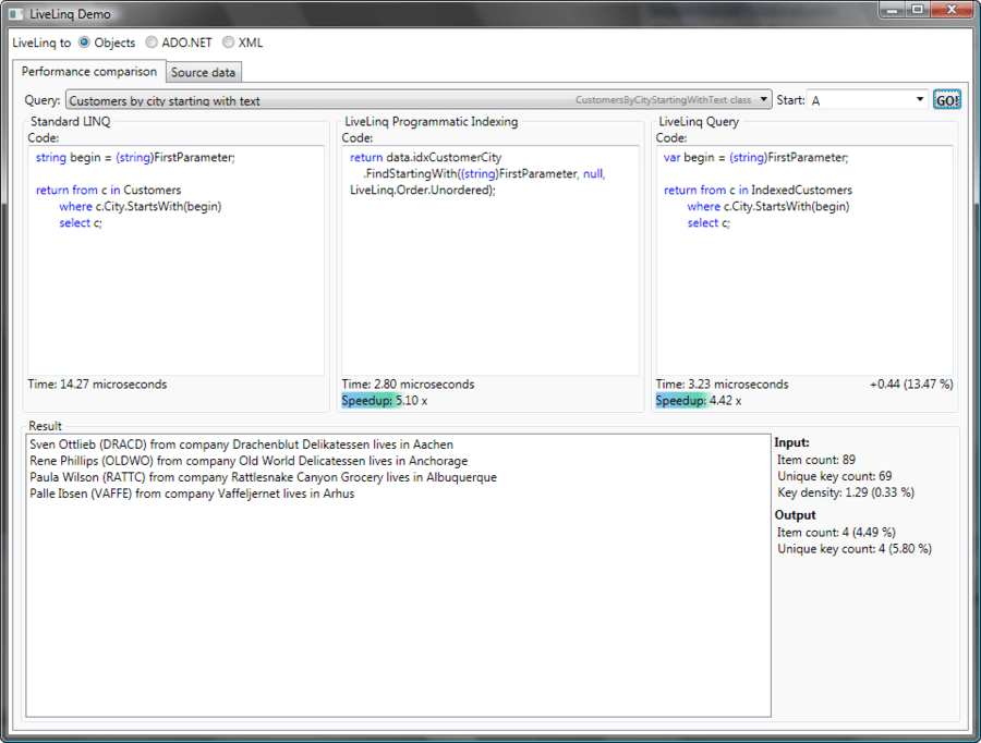 Screenshot of ComponentOne LiveLinq