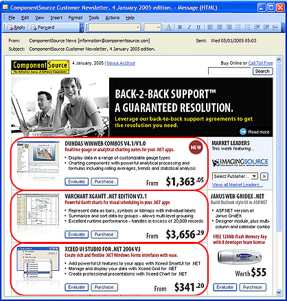 Screenshot of Email Advertising