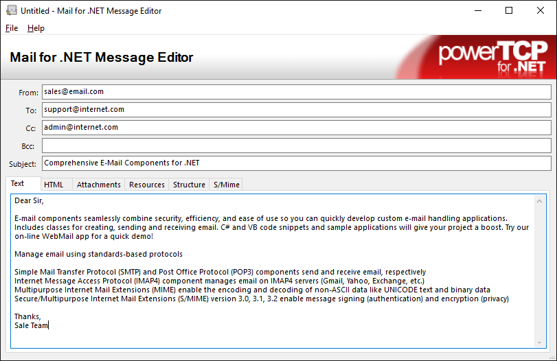 Screenshot of PowerTCP Mail for .NET