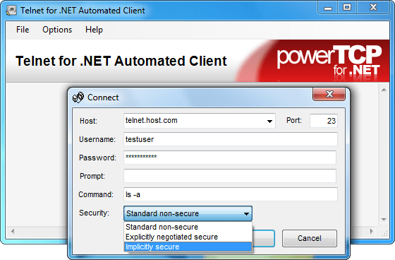 Screenshot of PowerTCP Telnet for .NET