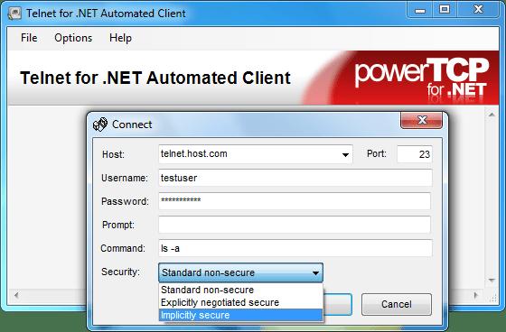 Screenshot of PowerTCP Telnet for .NET