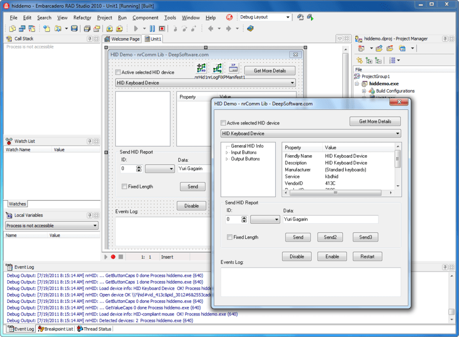 Screenshot of nrComm Lib