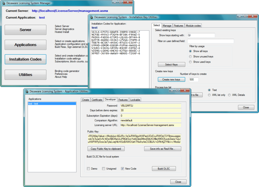 Screenshot of Desaware Licensing System