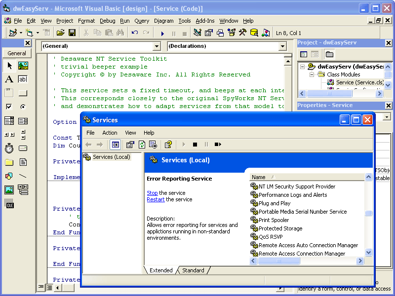 Screenshot of Desaware NT Service Toolkit