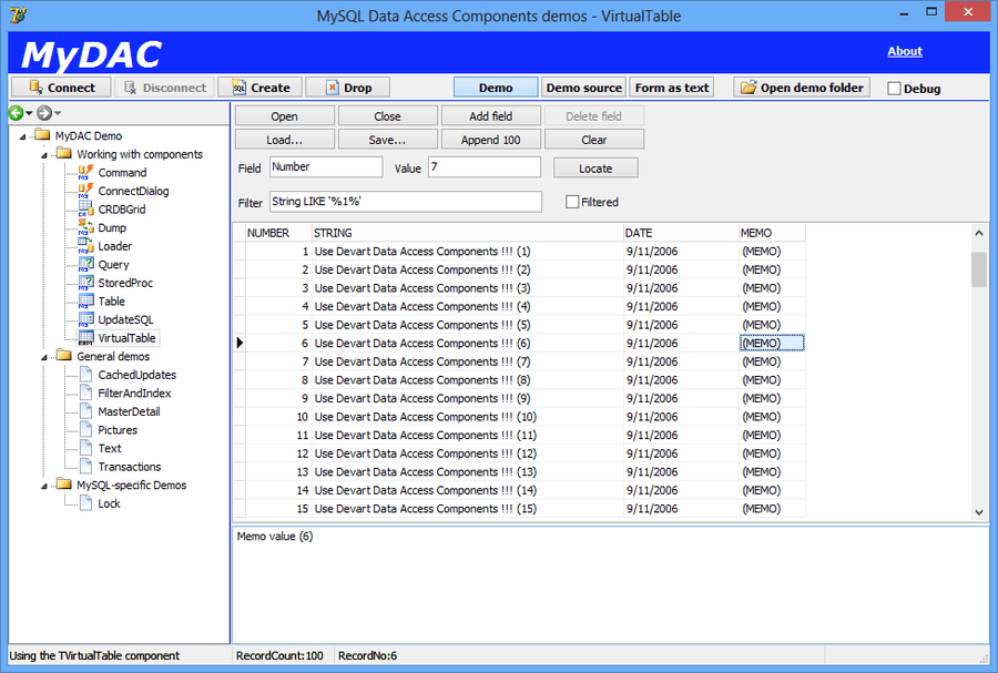 Screenshot of MySQL Data Access Components (MyDAC)
