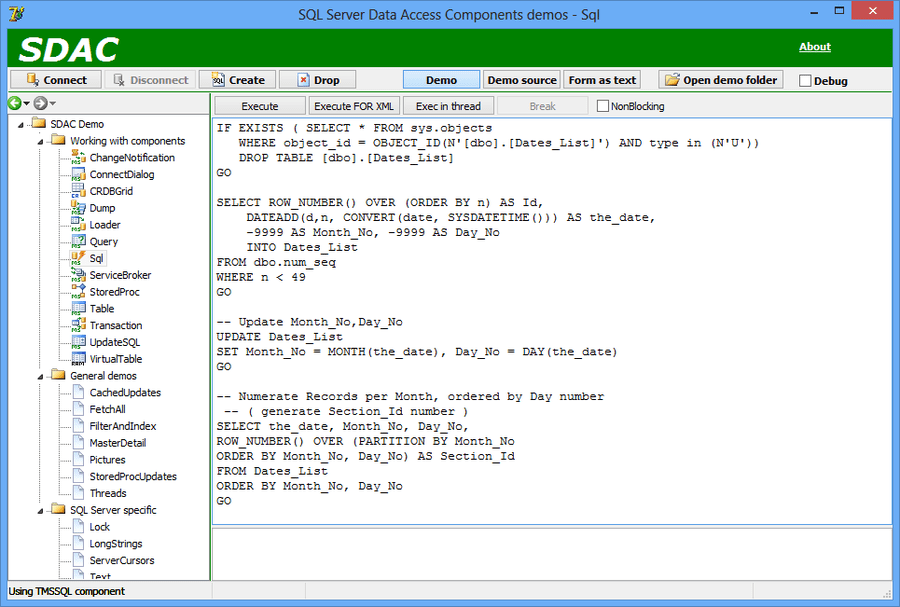 Screenshot of SQL Server Data Access Components (SDAC)