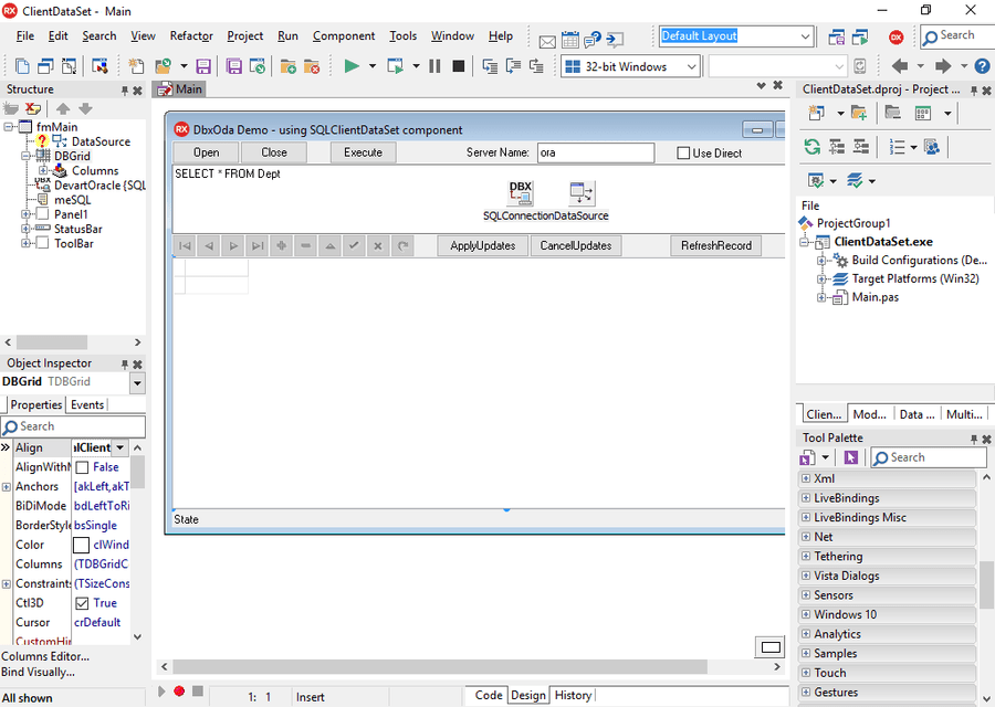 Screenshot of dbExpress Driver for Oracle