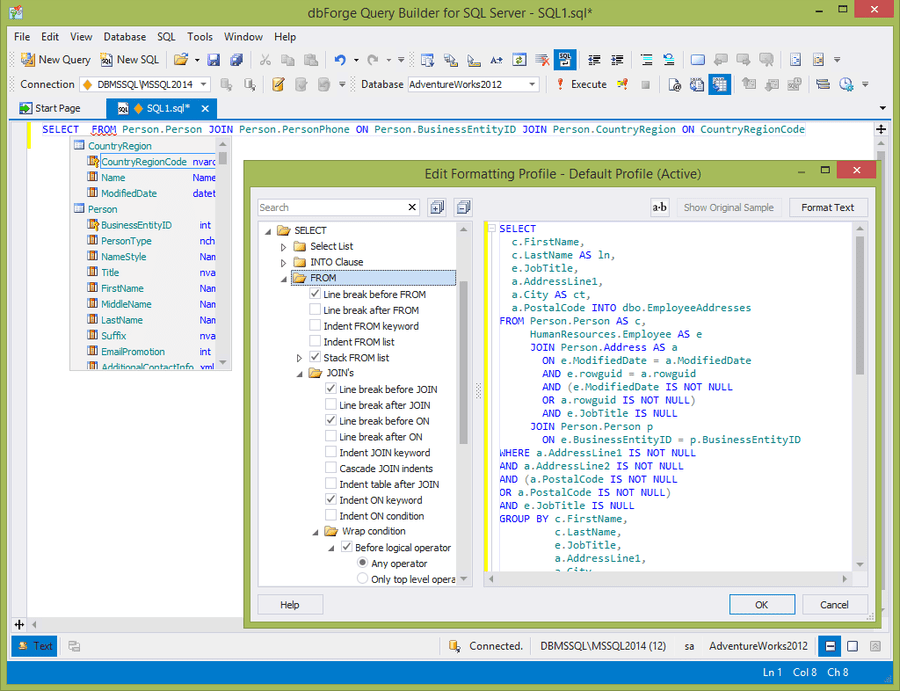 Screenshot of dbForge Query Builder for SQL Server
