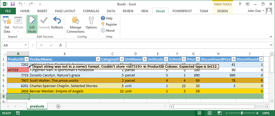 Screenshot of Devart Excel Add-ins
