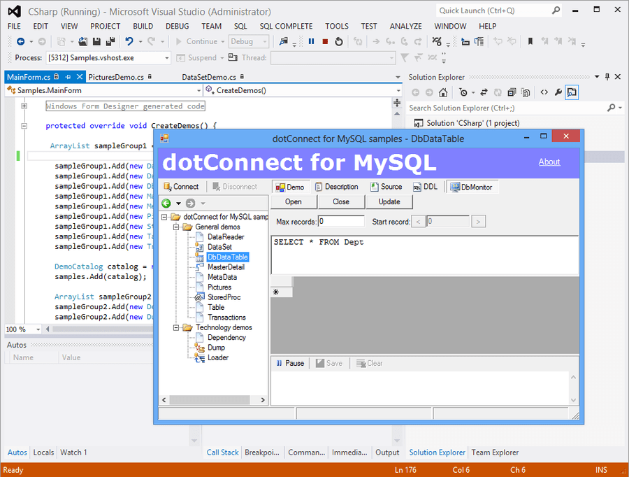 Screenshot of dotConnect for MySQL