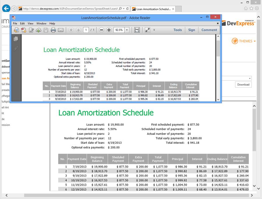 Screenshot of DevExpress Document Server