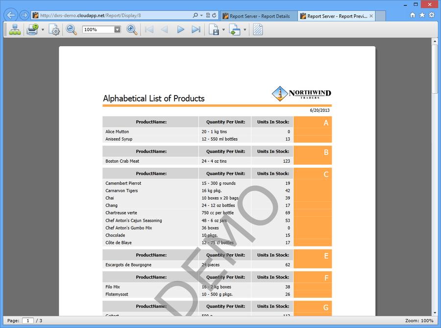Screenshot of DevExpress Report Server