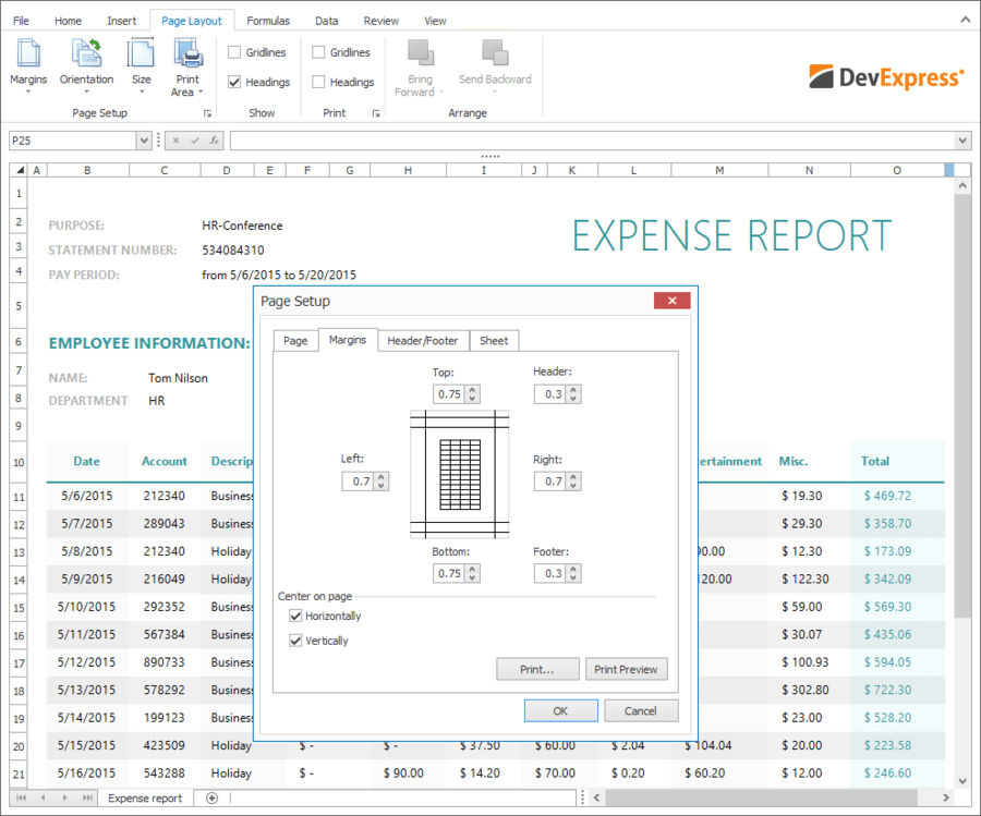Screenshot of DevExpress WinForms