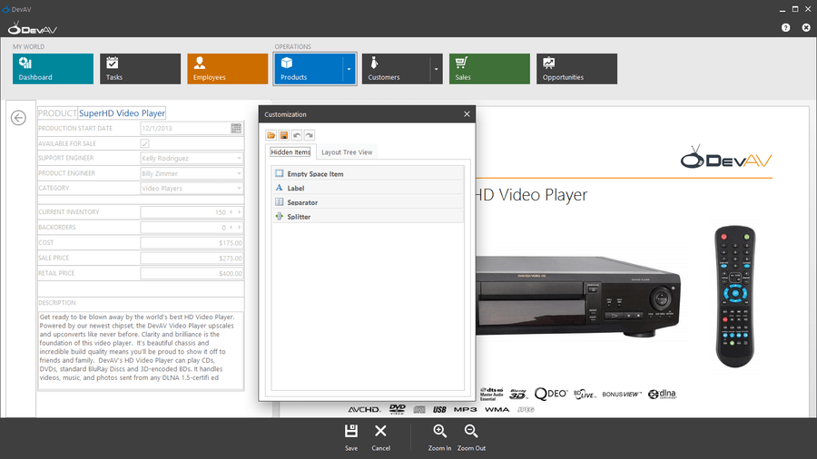 Screenshot of XtraLayoutControl Suite