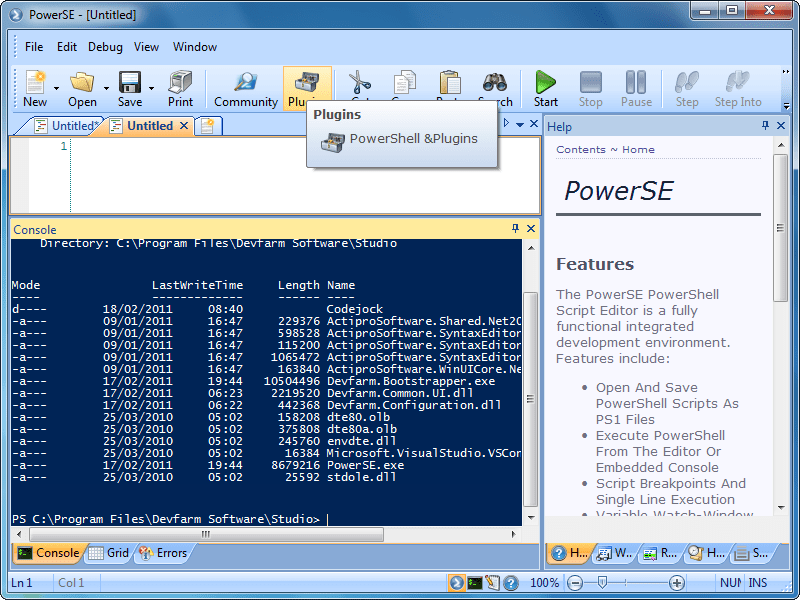 Screenshot of PowerSE