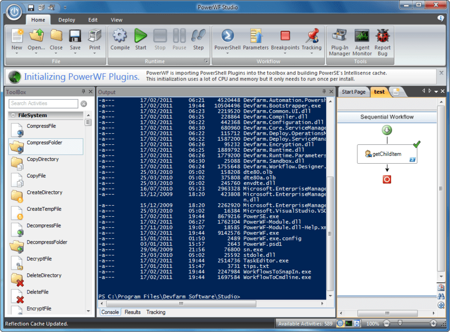 Screenshot of PowerWF - Visual PowerShell