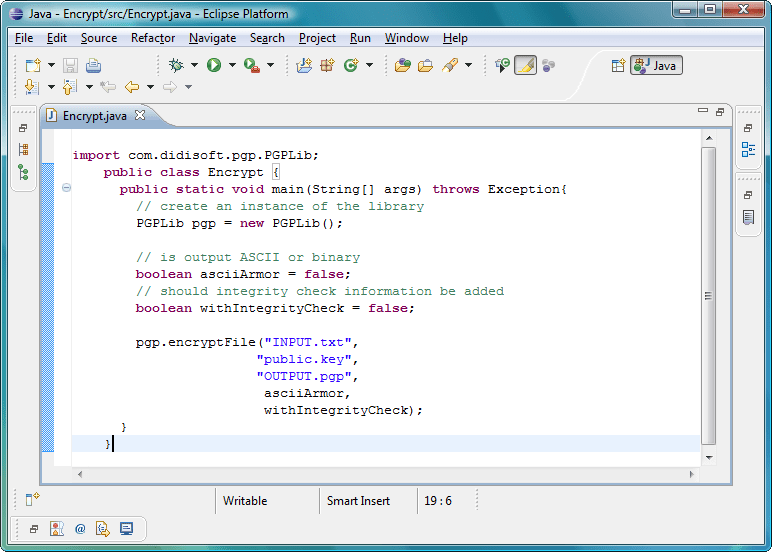 Screenshot of OpenPGP Library for Java