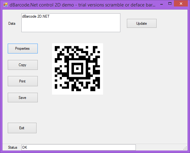 Screenshot of dBarcode.NET 2D Universal