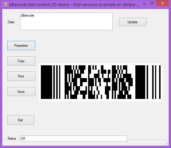 Screenshot of dBarcode.NET PDF417