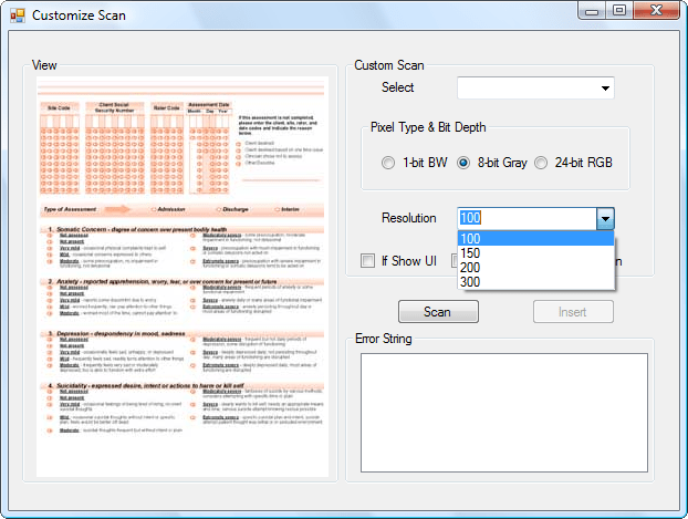 Schermata di Dynamic .NET TWAIN
