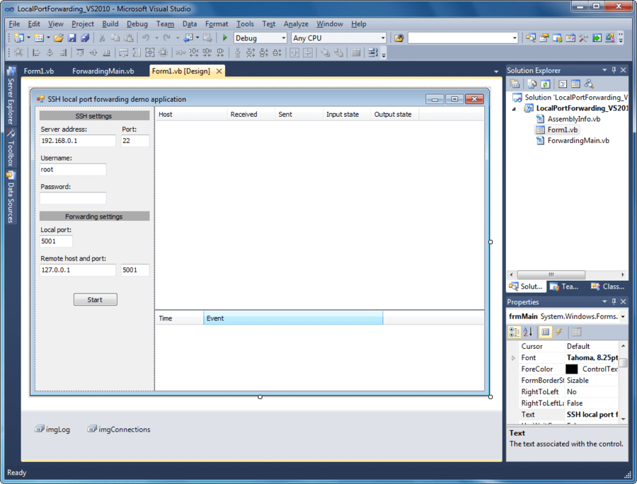 Screenshot of SSHBlackbox .NET Client - Vendor