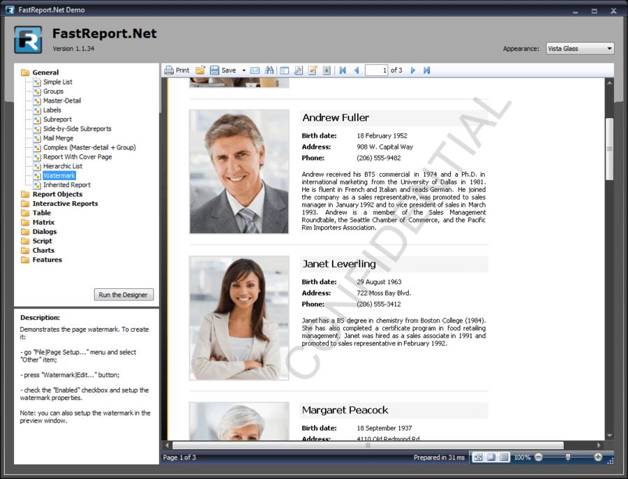 Screenshot of FastReport.Net WinForms + WebForms