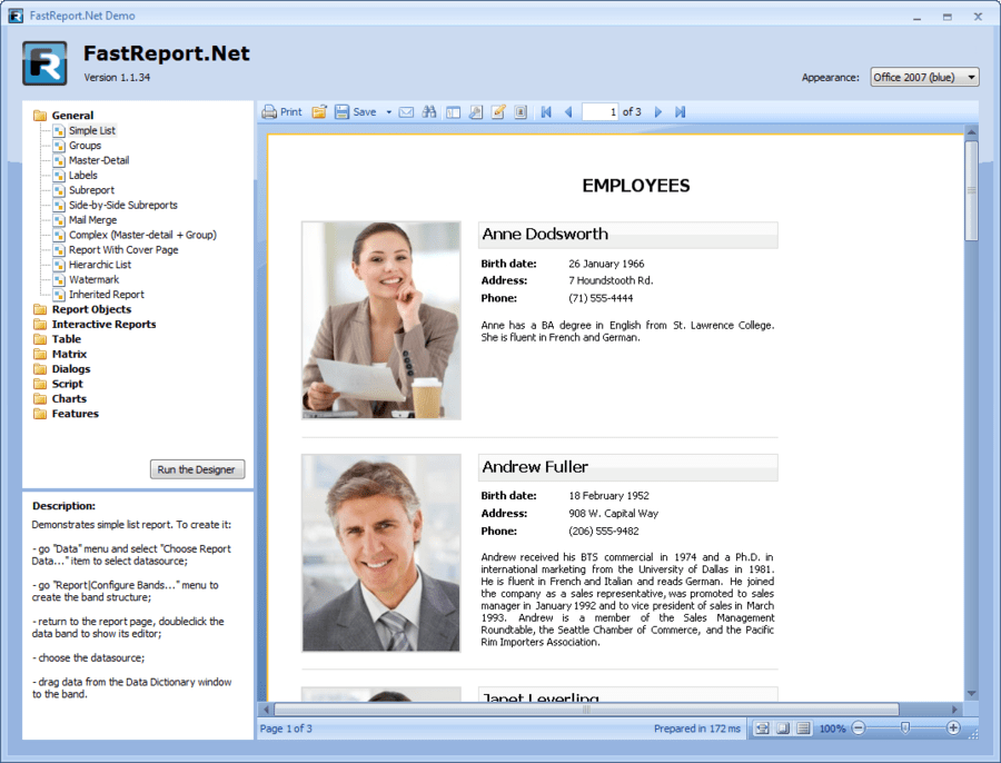 Screenshot of FastReport.Net WinForms