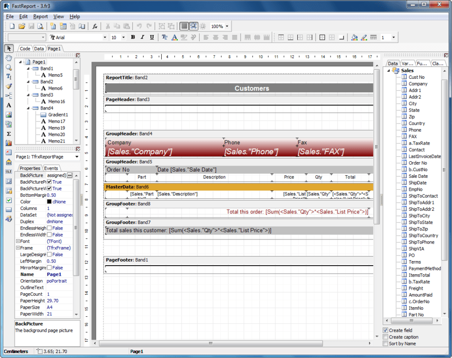 Screenshot of FastReport VCL Basic Edition