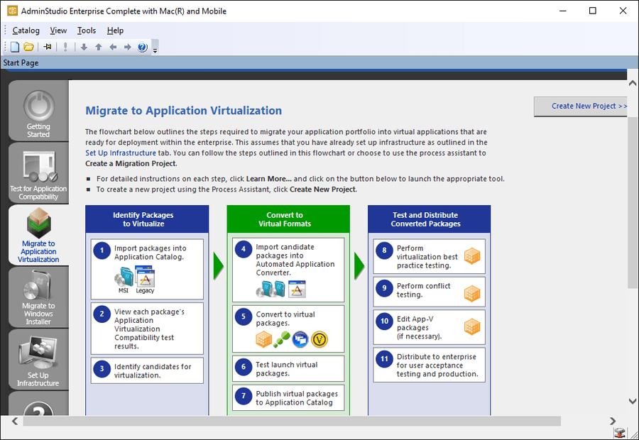 Schermata di AdminStudio Professional