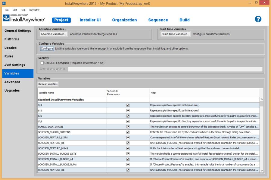 Screenshot of InstallAnywhere Premier