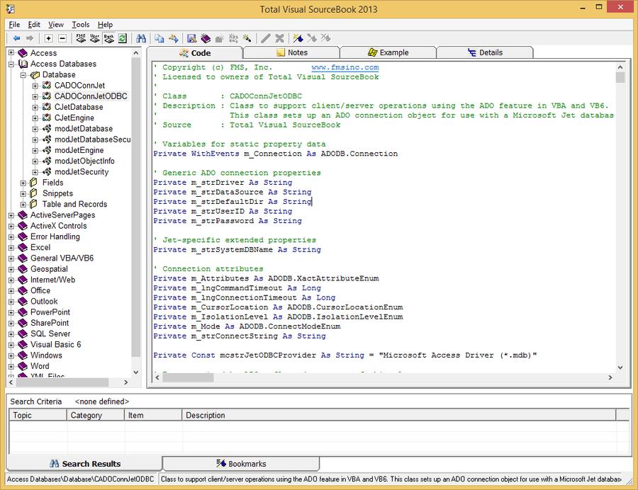 Screenshot of Total Visual SourceBook