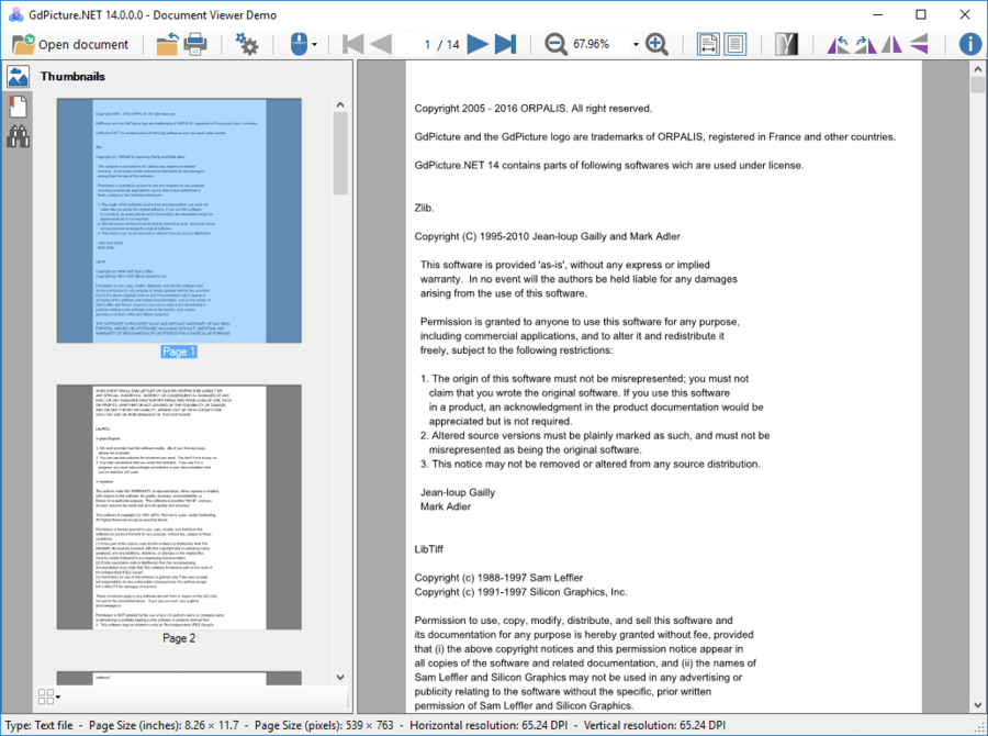 Captura de pantalla de GdPicture.NET Document Viewer SDK