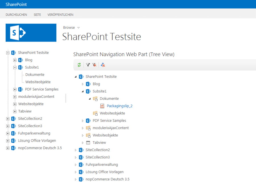 Screenshot of SharePoint Navigation Tools