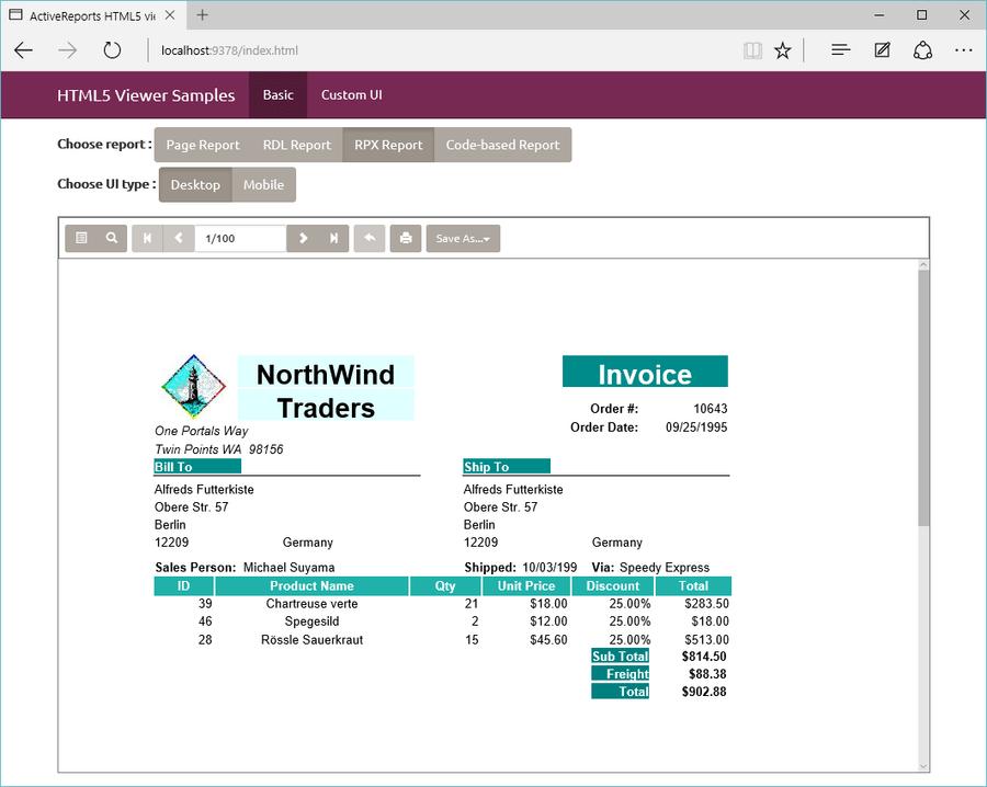 Screenshot of ActiveReports