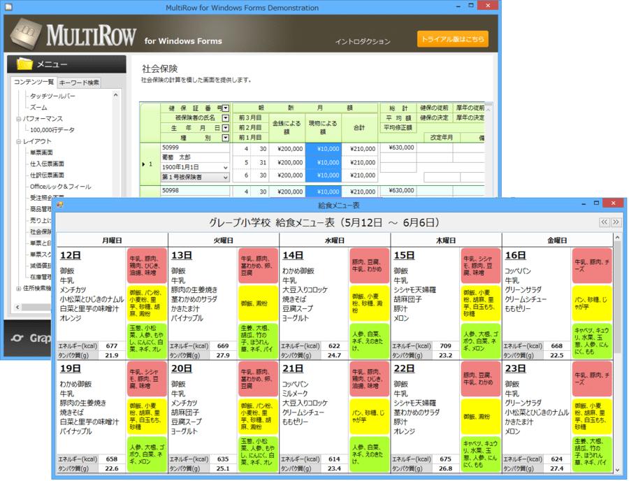 MultiRowPlus for Windows Forms(日本語版) のスクリーンショット
