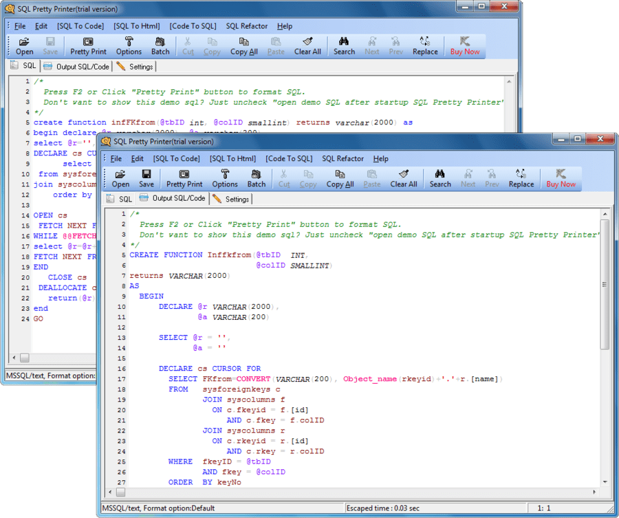 Screenshot of SQL Pretty Printer
