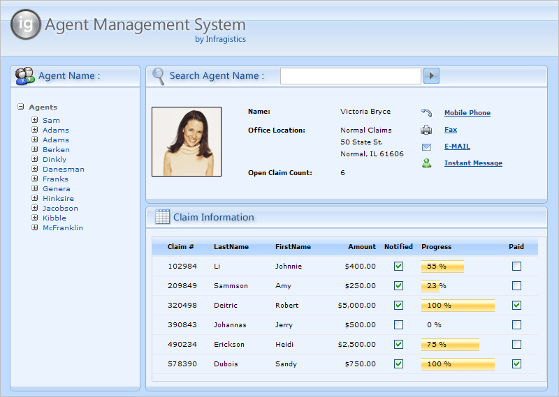 Screenshot of Infragistics NetAdvantage for Web Client