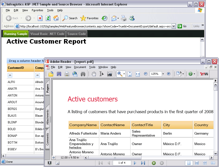 Screenshot of Infragistics WebGridDocumentExporter