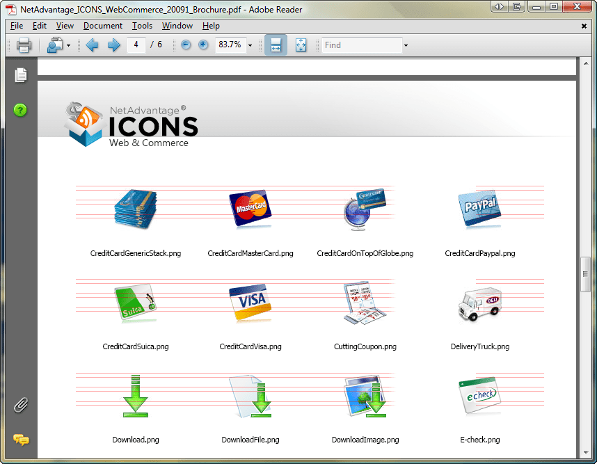 Screenshot of NetAdvantage ICONS Web & Commerce Pack