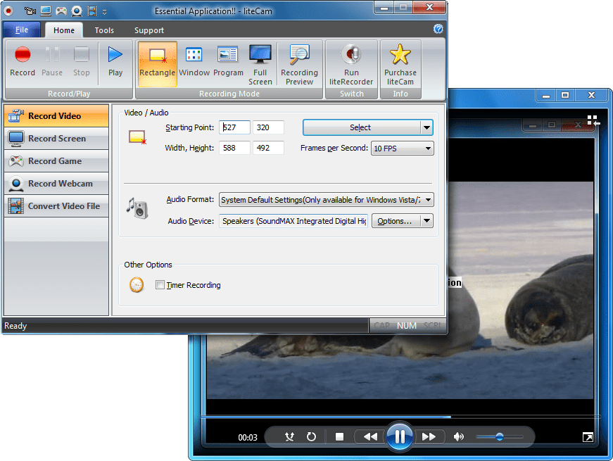 Screenshot of liteCam and liteRecorder Bundle
