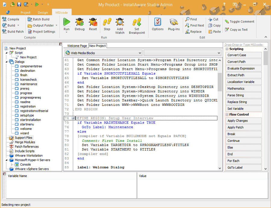 Screenshot of InstallAware Express