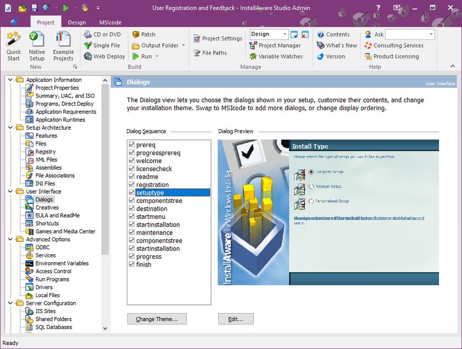 Screenshot of InstallAware Studio