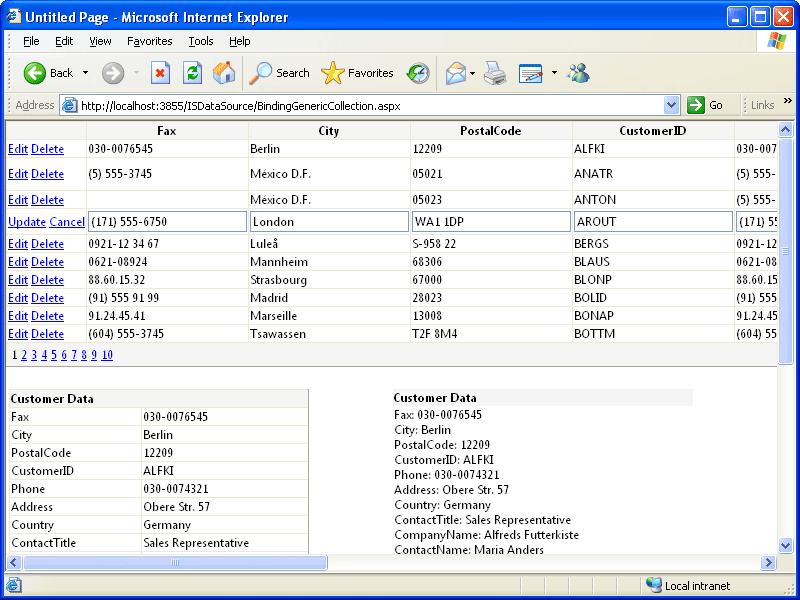 Screenshot of ISDataSource.NET