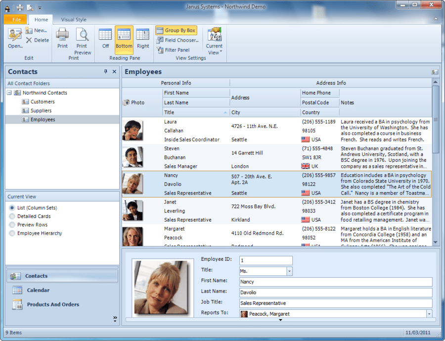 Screenshot of Janus GridEX for .NET