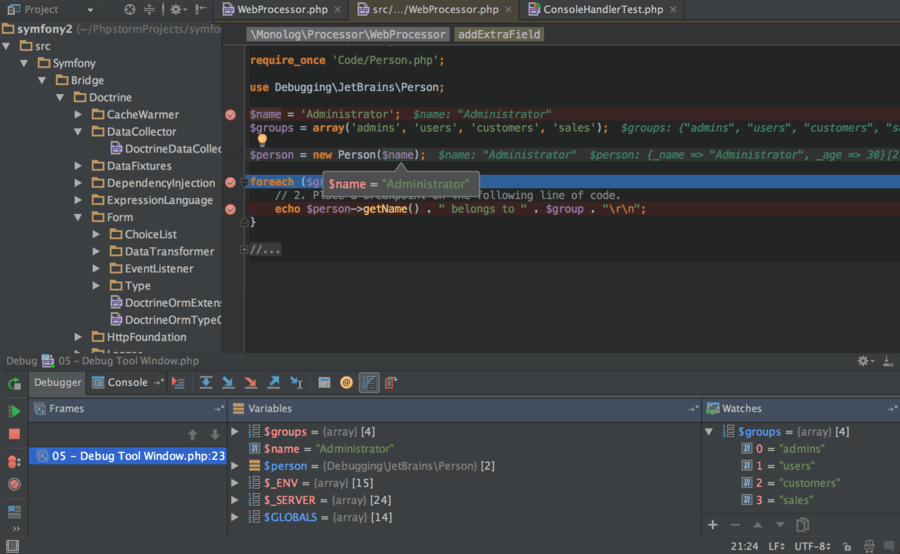 Screenshot of PhpStorm