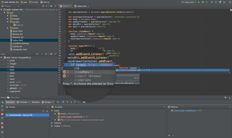 Screenshot of WebStorm