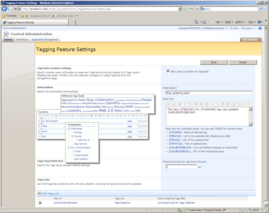 Captura de tela do KWizCom SharePoint Tagging Feature