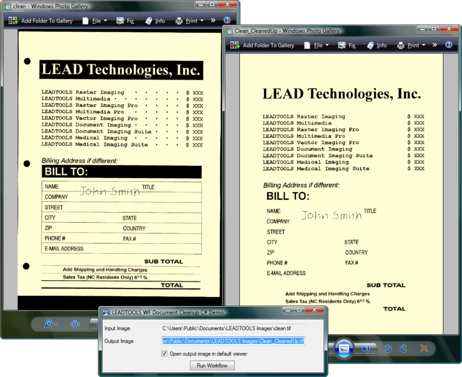 Screenshot of LEADTOOLS Document Imaging Suite SDK