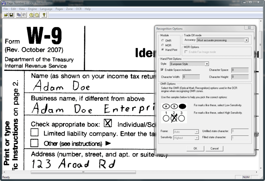 Screenshot of LEADTOOLS ICR Module